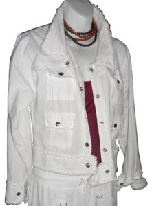 Lirome Bohemian Summer Spring Cottage Chic Organic White Womens Jean Jacket