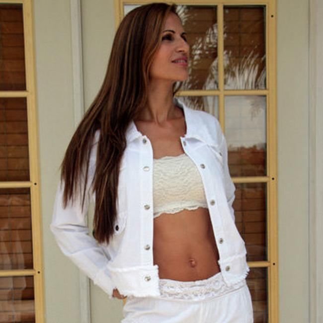Lirome Bohemian Summer Spring Cottage Chic Organic White Womens Jean Jacket Image 8