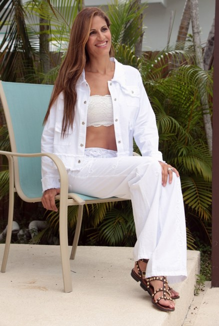 Lirome Bohemian Summer Spring Cottage Chic Organic White Womens Jean Jacket Image 9