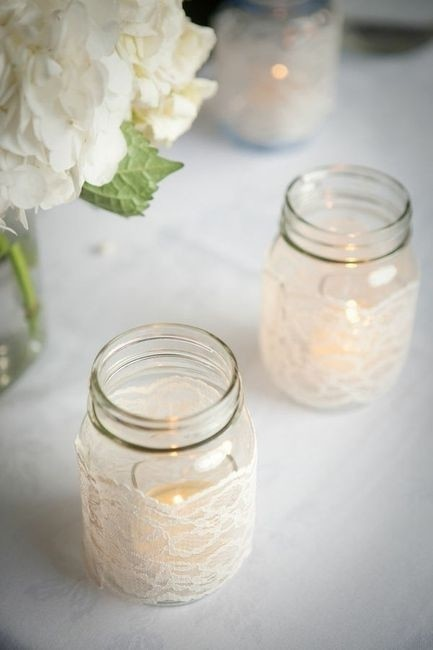 Item - Burlap and Lace and Plum Ribbon 3 Sizes Of Jars with All Different Centerpiece