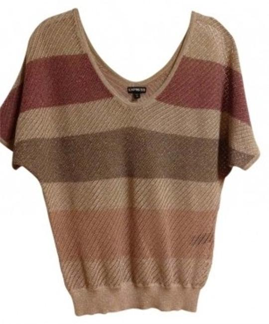 Preload https://item2.tradesy.com/images/express-tan-and-pink-double-v-neck-metallic-stripped-sweaterpullover-size-0-xs-36596-0-0.jpg?width=400&height=650