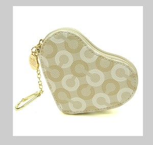Coach 2 Piece Set Collector's Piece Heart Key Ring/ Coin purse & Heart Turn-lock Valet Key Ring/Purse Fob