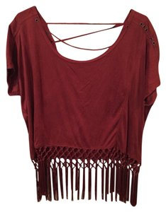 Cecico Fringe Hem Suede Top Orange