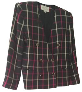 Michelle Stuart Dark Grey, White, Pink Blazer