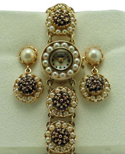 Lucien Piccard Vintage Lucien Piccard 14K Yellow Gold, Sea Pearl & Garnet Watch and Matching Earring Set