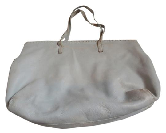 Carla Mancini Leather Pebbled Tote in Pale Blue