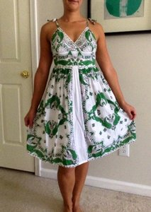 Blue Plate short dress White/Green/Black on Tradesy