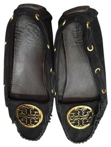 Tory Burch Suede Moccasins Like New Gold Accents Black Suede Flats