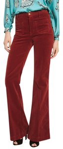 J Brand Anthropologie High-waisted Vintage Super Flare Pants Rust, Crimson