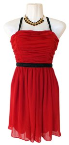 Forever 21 Red Beads Pleated Flowy Dress