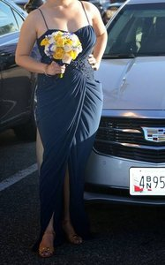 Midnight Blue Tailor-made Maid Of Honor Gown Dark Formal Bridesmaid/Mob Dress Size 8 (M)