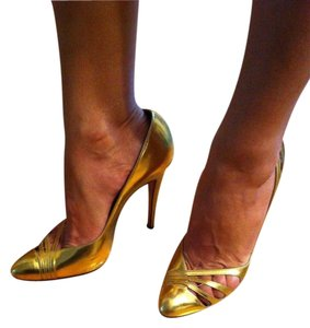 Brian Atwood Classic High Heels Stiletto Leather Cutouts Pointy Toe gold Pumps