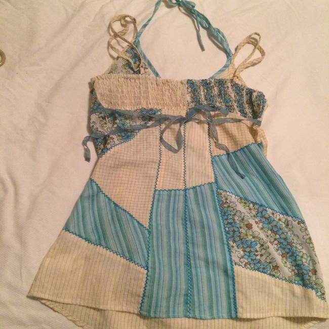 Roxy Top Floral Blue with geometric designs Image 1