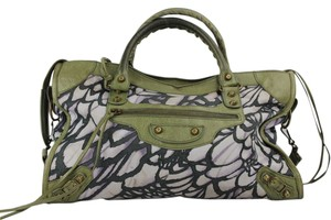 Balenciaga Satchel in Printed with olive green linings