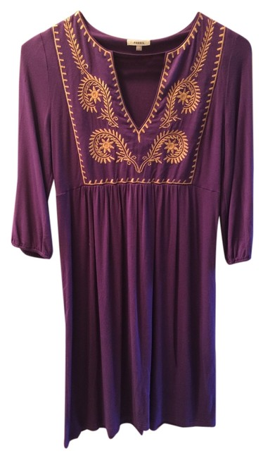 Fossil short dress Purple Tunic Embroidered on Tradesy