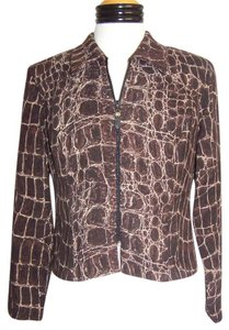Brown Geometric Giraffe Print Jacket