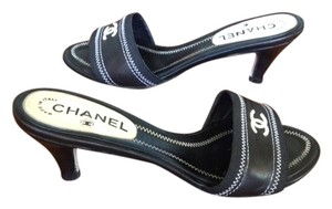 Chanel Open Toe Low Heel Black w/cream stitching and logo Mules