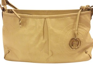 Etienne Aigner Designer Embossed Etienne Aigner Genuine Leather Tote in creme color / off white