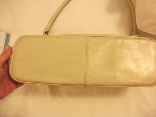 Etienne Aigner Embossed Genuine Leather Tote in creme color / off white