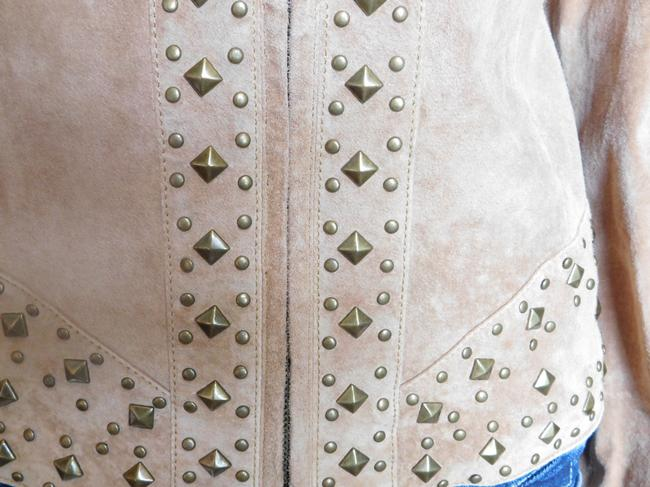 Laura Max Studded Suede Camel Leather Jacket