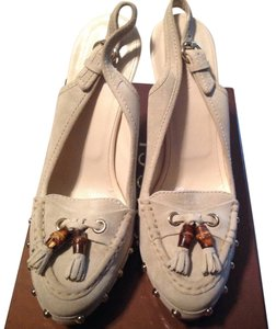 Gucci Bamboo Clog Woodenheel Wood Tassle Cream Platforms