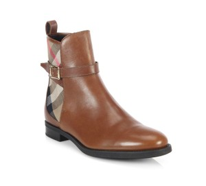 Burberry Richardson Tan Brown Leather Chestnut Boots