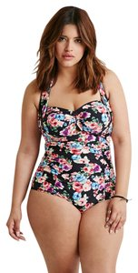 1042530777 Forever 21 Forever 21 Plus Size Navy Blue Floral Print Halter One Piece 2X