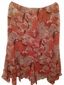 Cato Skirt Orange/White/Brown