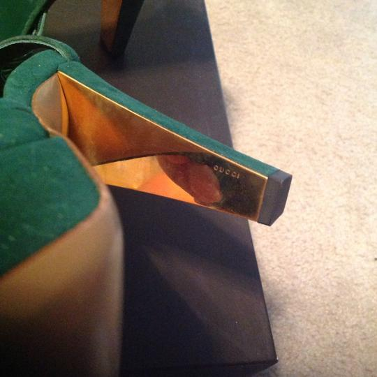 Gucci Suede Sexy Classic Sandals Pumps Gold Leather Green Platforms