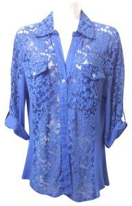 Tracy M Stretch Lace Royal Blue Top