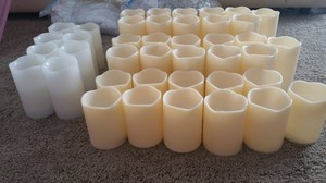 White & Cream Battery Operated Cylinder Votive/Candle