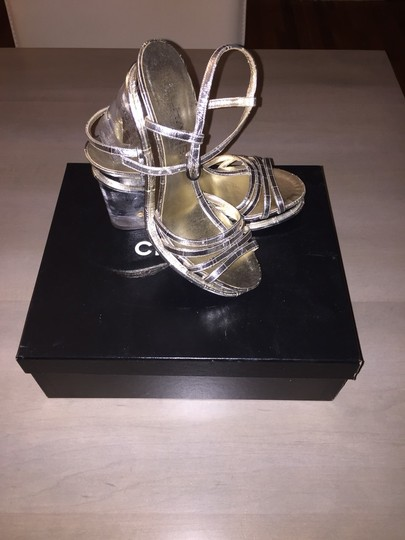 Chanel Silver Clear Platforms
