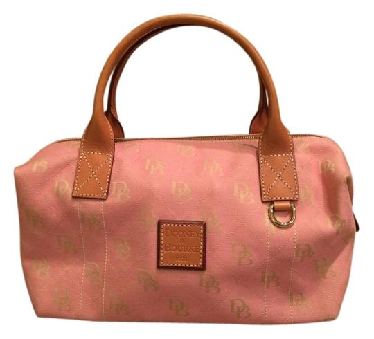 Preload https://item2.tradesy.com/images/dooney-and-bourke-satchel-pink-canvas-and-tan-leather-3668851-0-0.jpg?width=440&height=440