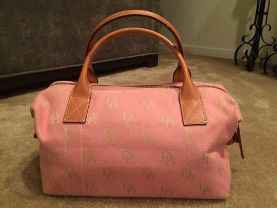 Dooney & Bourke Satchel in Pink Canvas & Tan Leather