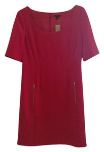 Ann Taylor Current Trend Short Sleeve Zipper Pocket Scoop Neck Dress
