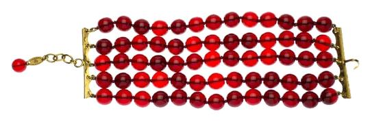 Chanel Chanel Vintage Red Beaded Gripiox Bracelet
