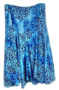 Newsworthy Elastic Fitted Layered Lined Skirt blue