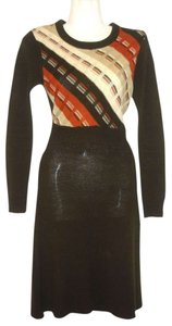 Neiman Marcus short dress Brown Knit Shirt Woven Vintage Fall Autumn Back Zipper Stripes Sweater on Tradesy