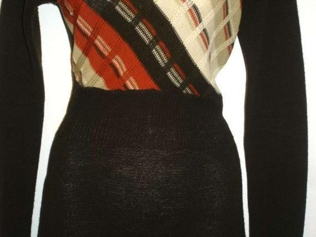Neiman Marcus short dress Brown Knit Woven Vintage Fall Autumn Back Zipper Stripes Sweater on Tradesy