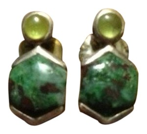 Other Artisanal Peridot and Bloodstone Stud Earrings