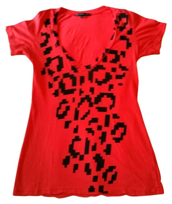 Urban Outfitters Geometric Leopard Graphic Truly Madly Deeply T Shirt Burnt Orange Red Black