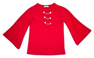Built By Wendy Cashmere Military Bell Sleeves Chain Gold Hardware Sweater