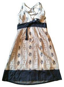La Belle short dress Multi Vintage Print Pattern Blue White Halter Front Tie Back Zip Short Mid Knee Length Navy Tie on Tradesy
