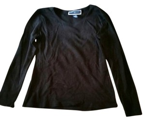 Karen Scott Longsleeve Layering Simple Basic Scoop Neck T Shirt Black
