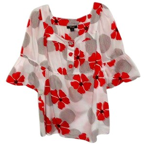 Style & Co Cotton Bright Top red/white