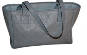 Gucci Guccissima Embossed Leather Tote in Baby Blue