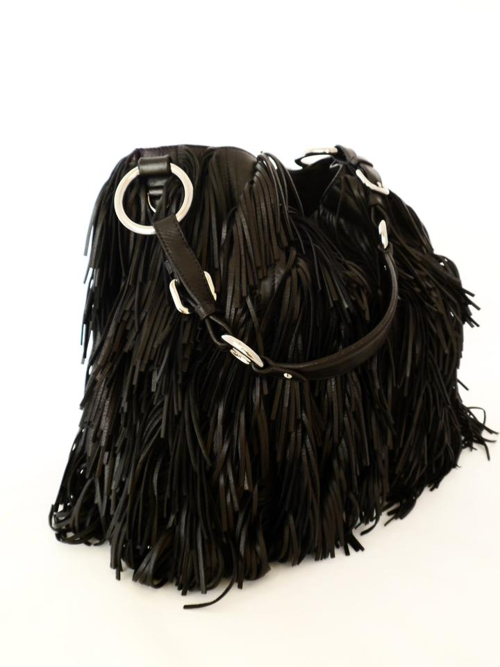 f970bbe7c6cb Prada Fringe Hobo Br3758 Nero-black Black Nappa Leather Shoulder Bag ...