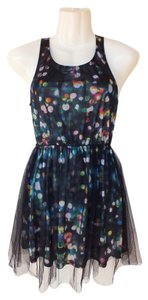 Divided by H&M Colorful Black Mesh Fireworks Dress
