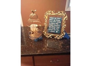 Gold Teal Memory Candle with Sign Reception Decoration