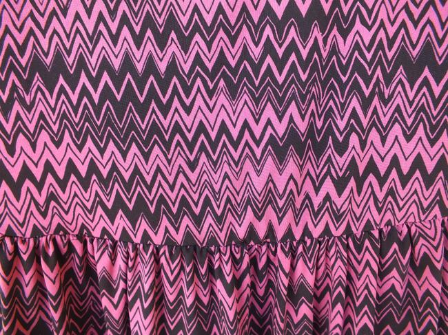 BeBop short dress pink, black Pink Black Chevron Quarter Sleeves on Tradesy
